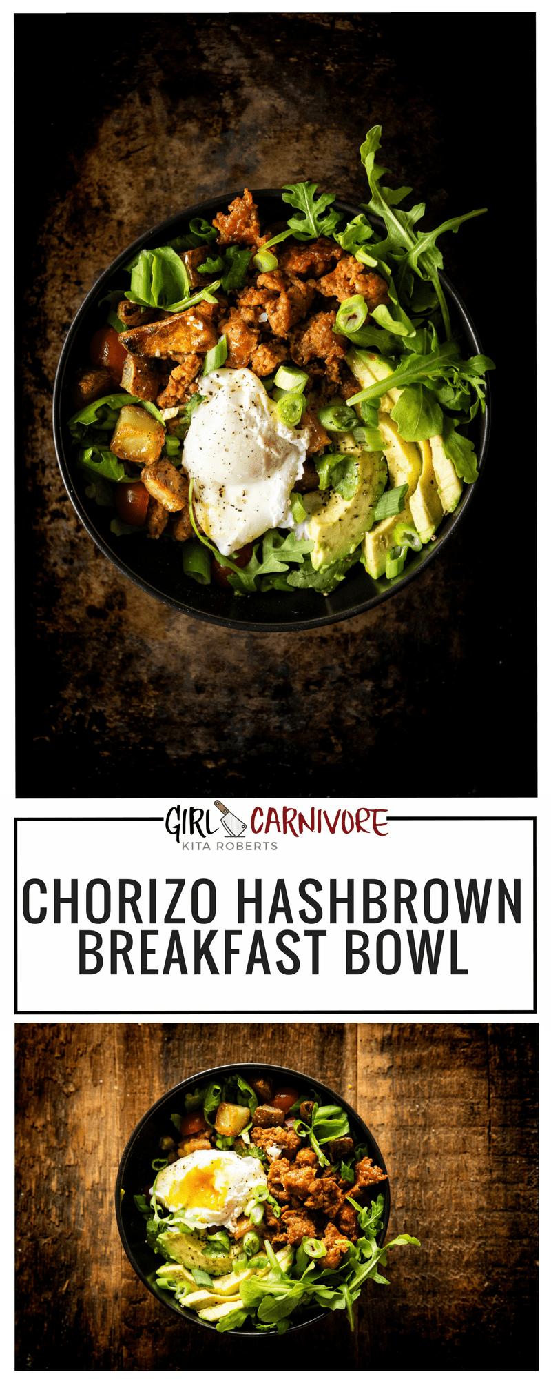 Chorizo Hash Breakfast Bowl with Chipotle Cream