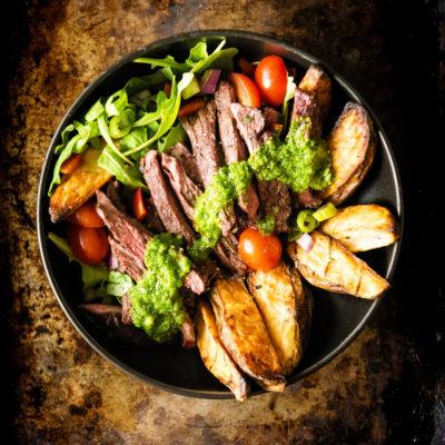 Grilled Chimichurri Steak Potato Power Bowl | Kita Roberts GirlCarnivore.com