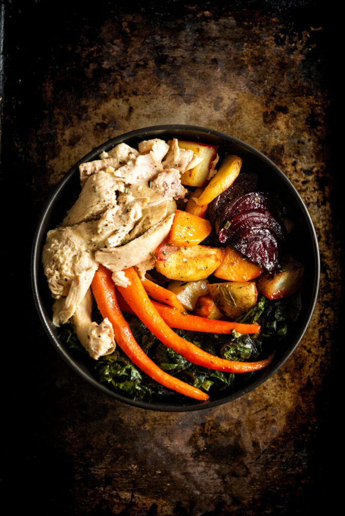 Roasted Roots and Chicken Power Bowl with Maple Dipping Aioli | Kita Roberts GirlCarnivore.com