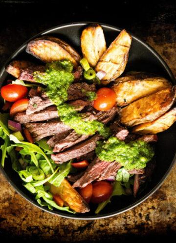 Grilled Chimichurri Steak Potato Power Bowl   Kita Roberts GirlCarnivore.com