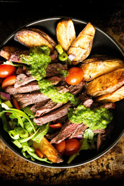 Grilled Chimichurri Steak Potato Power Bowl | Kita Roberts GirlCarnivore.com
