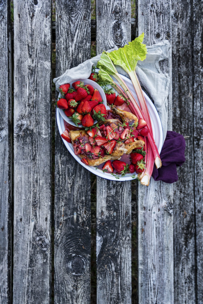 Cast Iron Roasted Chicken with Strawberry Rhubarb Balsamic Glaze | Kita Roberts GirlCarnivore.com