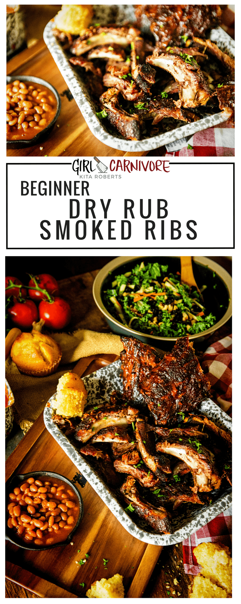 Beginner Dry Rub Smoked Ribs | Easy smoked ribs perfect for the first time griller, but delicious enough for the seasoned pro. | Recipe at GirlCarnivore.com