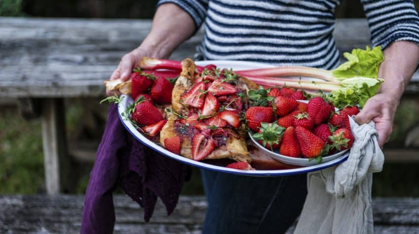 Cast Iron Roasted Chicken with Strawberry Rhubarb Balsamic Glazeis the perfect rustic recipe for sharing moments with friends and family.