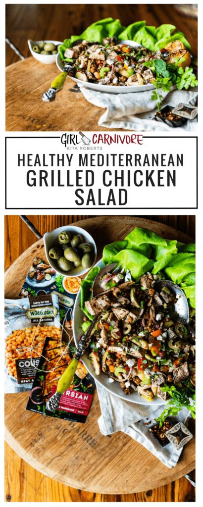 Mediterranean Grilled Chicken Salad Recipe GirlCarnivore.com