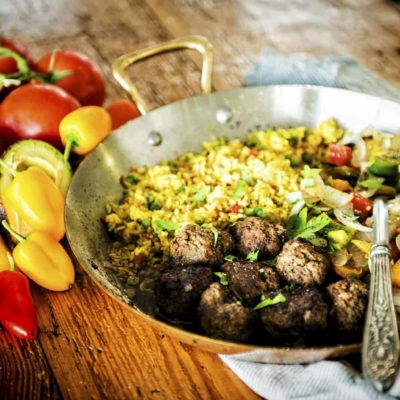 Cumin Spiced Lamb Meatballs with Chimichurri Drizzle