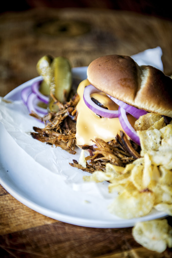 Close up of Oven Roasted Pulled Pork Sandwich | Kita Roberts GirlCarnivore.com