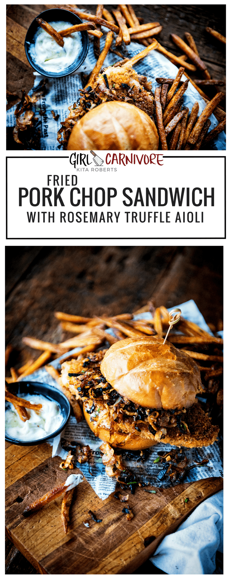 FRIED PORK CHOP SANDWICH WITH ROSEMARY TRUFFLE AIOLI | Recipe GirlCarnivore.com