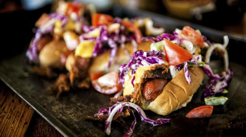 IPA Pulled Pork Cheese Dogs Recipe | GirlCarnivore.com