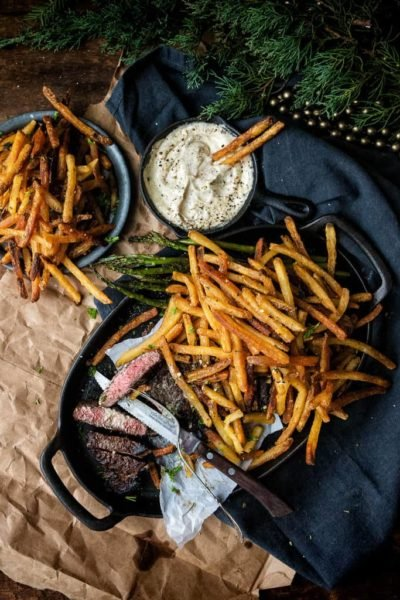 Steak Frites with Rosemary Duck Fat Fries
