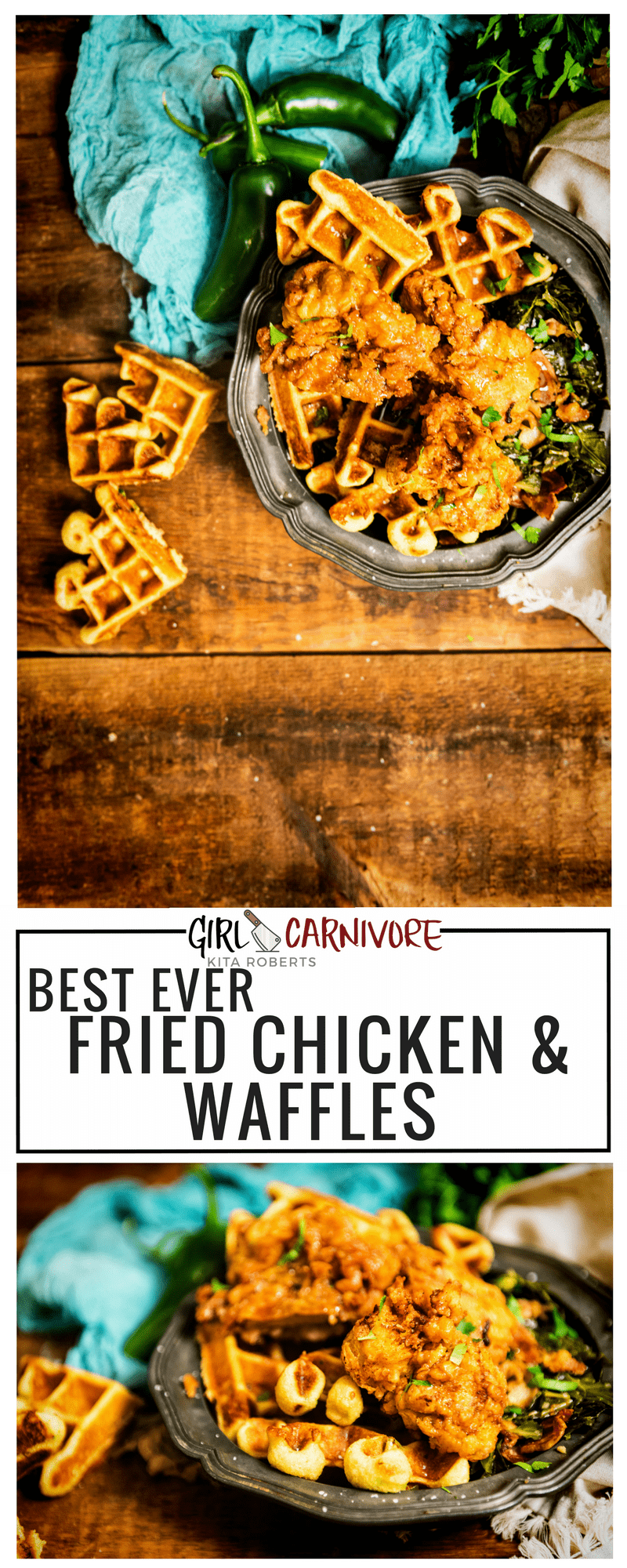 The best ever buttermilk fried chicken with savory cornbread waffles slathered in real vermon maple syrup! Recipe on GirlCarnivore.com