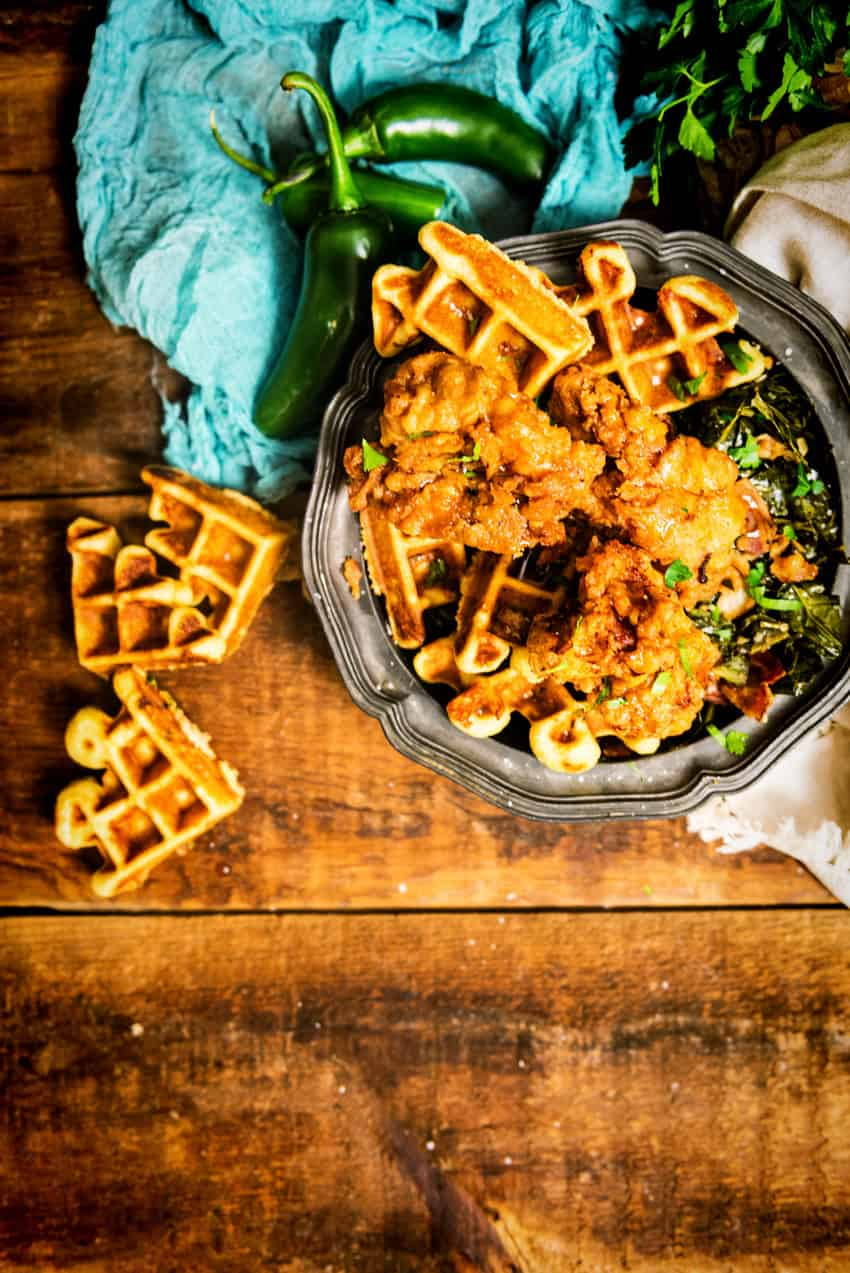 Maple Fried Chickena and Cornbread Waffles by Kita Roberts GirlCarnivore