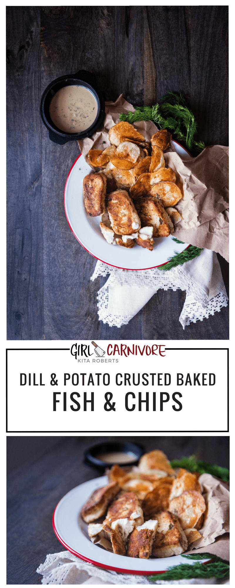 Potato Crusted Fish and Chips Recipe | Kita Roberts GirlCarnivore.com