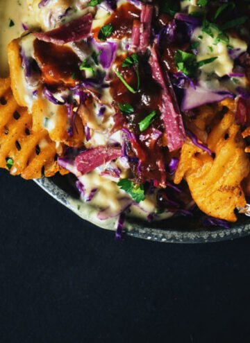 Corned Beef Nachos with Herbed Whiskey Fondue | Kita Roberts GirlCarnivore.com