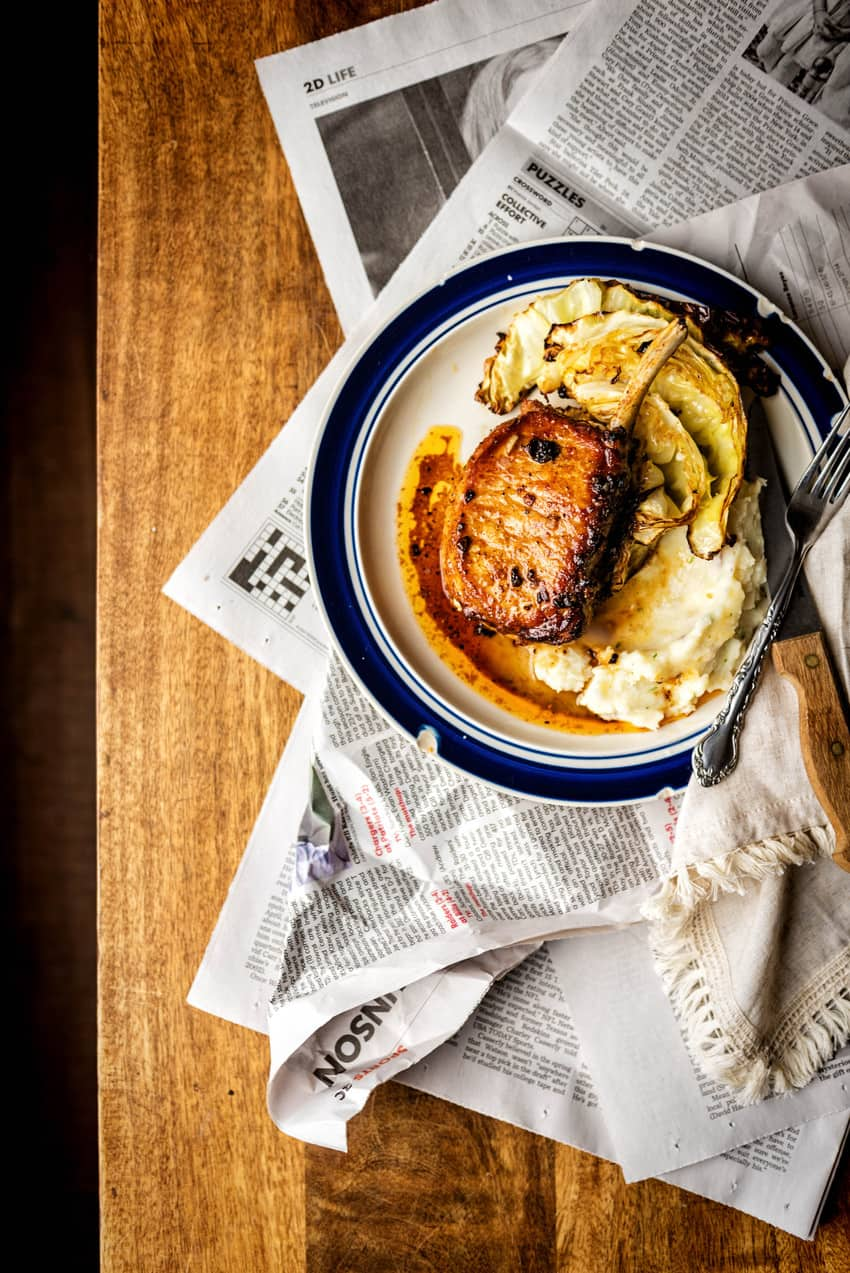 Maple Pepper Bone-In Pork Chops Recipe | KIta Roberts GirlCanivore.com