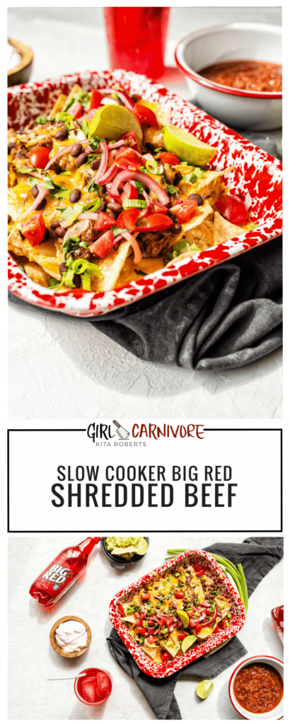 Slow Cooker Big Red SHredded Beef Recipe -GirlCarnivore Kita Roberts