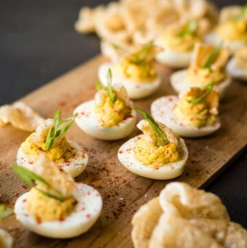 Deviled Eggs with Chicharrones Recipe GirlCarnivore Kita Roberts