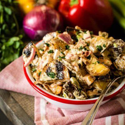 Smoked Potato Salad Recipe | GirlCarnivore.com Kita Roberts