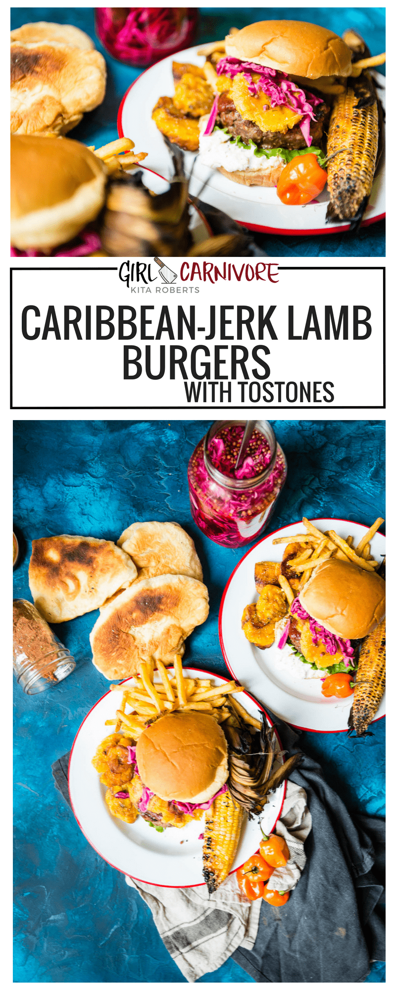 Caribbean-Jerk Lamb Burger Recipe with Tostones, pickled cabbage, and goat cheese