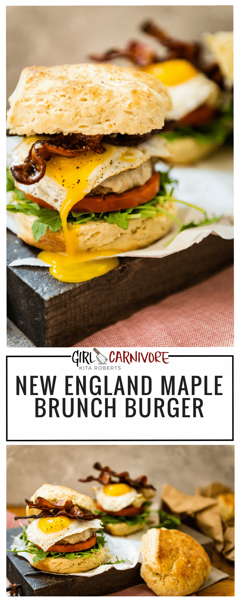 New England Maple Brunch Burger Recipe GirlCarnivore.com