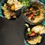 Curry Chicken Kabobs Coconut Turmeric Rice