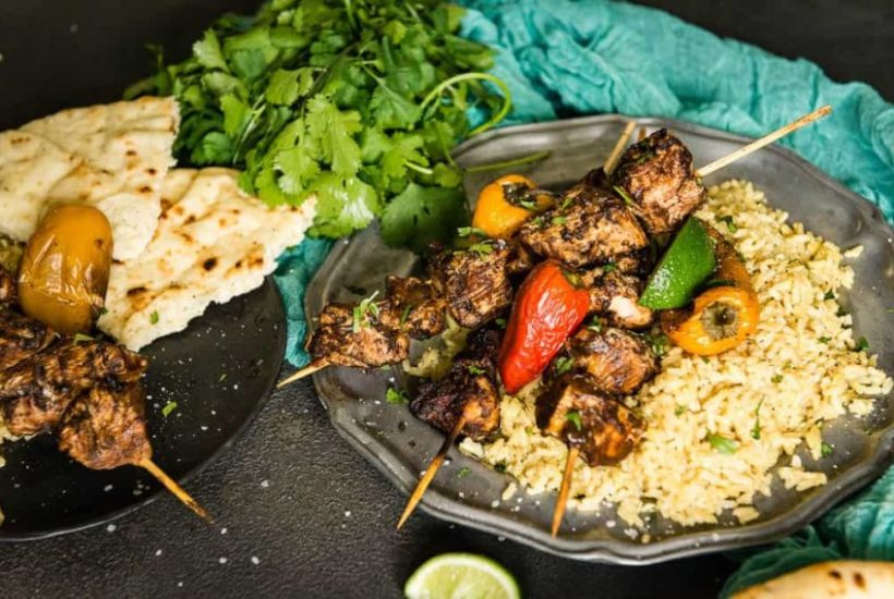 Curry Chicken Kabobs Coconut Turmeric Rice Recipe