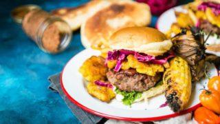 Caribbean-Jerk Lamb Burgers with Tostones