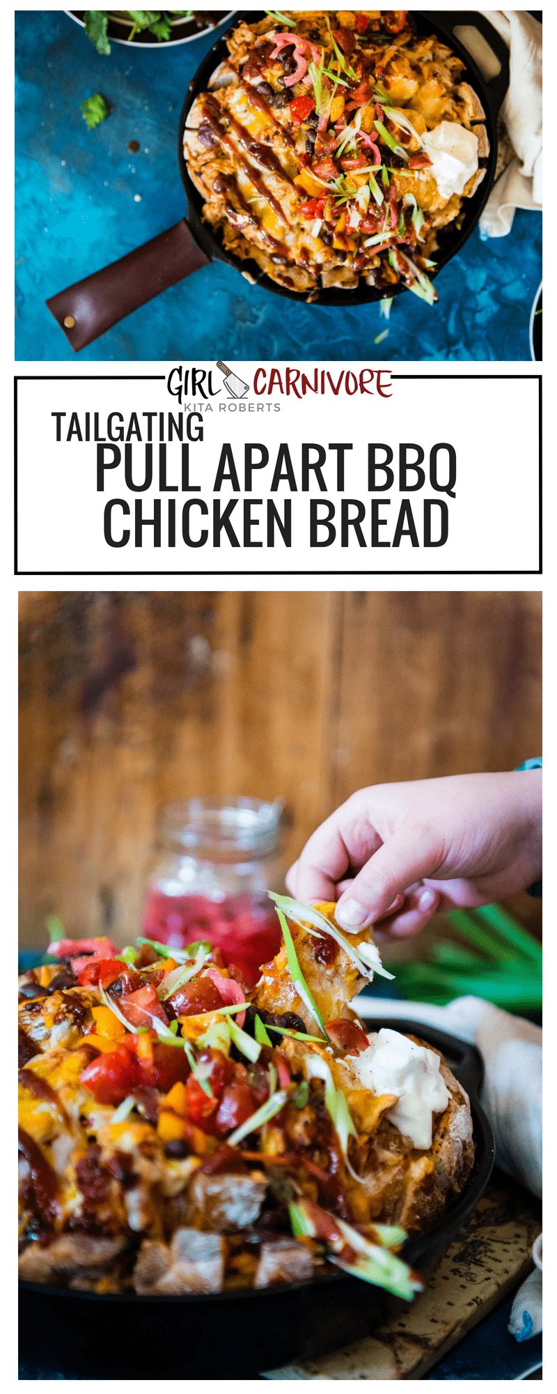 Tailgating Pull-Apart BBQ Chicken Bread Recipe on GirlCarnivore.com