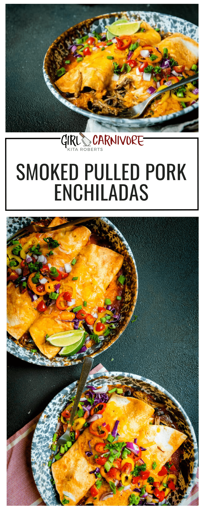 Smoked Pulled Pork Enchiladas are a fast and easy go to that are a great way to use up leftovers! Mix and match flavors and heat for your family's tastes. #recipe