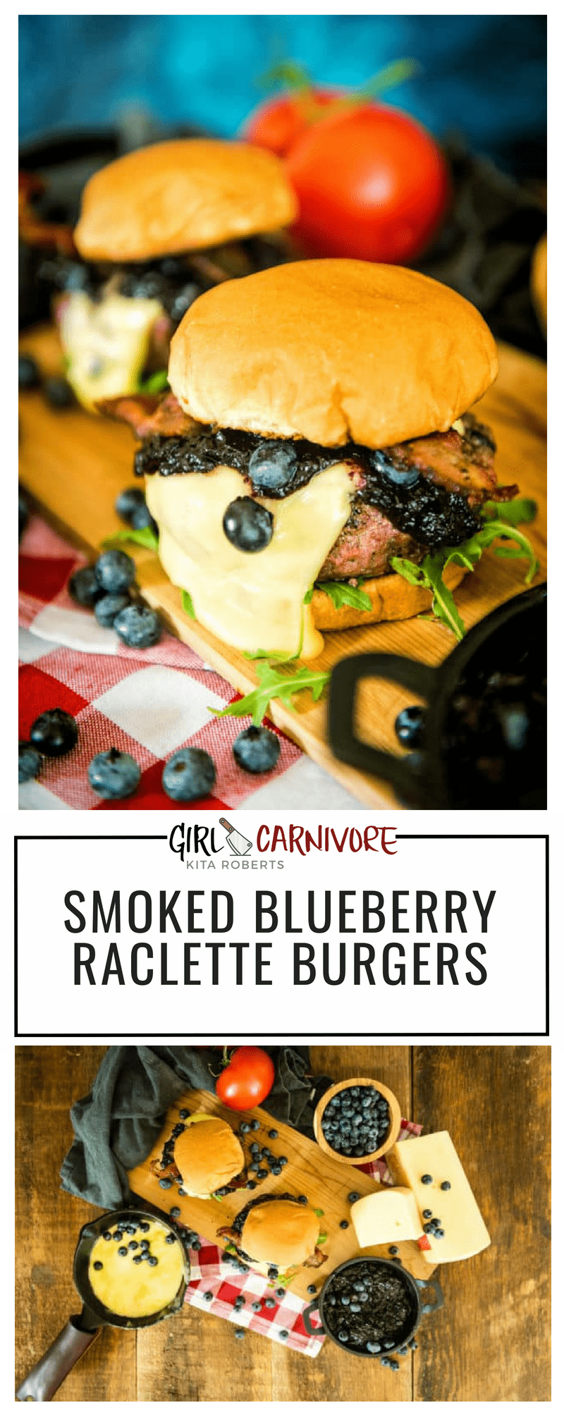 Smoked blueberry compote, smoked grass-fed burgers, thick cut bacon and fresh Raclette cheese on top. This Smoked Blueberry Raclette Burger is the one burger you have to try! #burgers #recipe #grilling