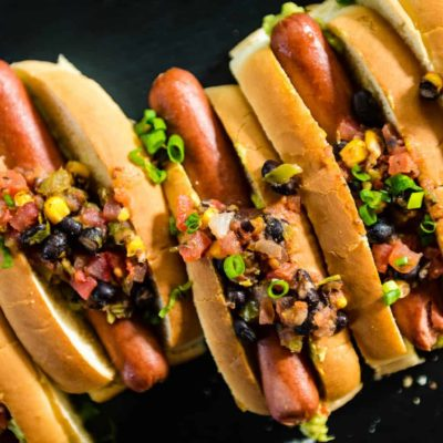 Pineapple Salsa and Guacamole Hot Dogs