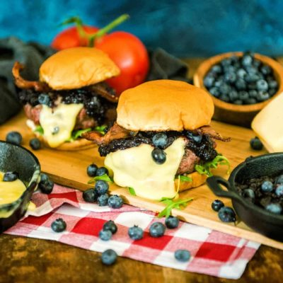 Smoked Blueberry Raclette Burgers
