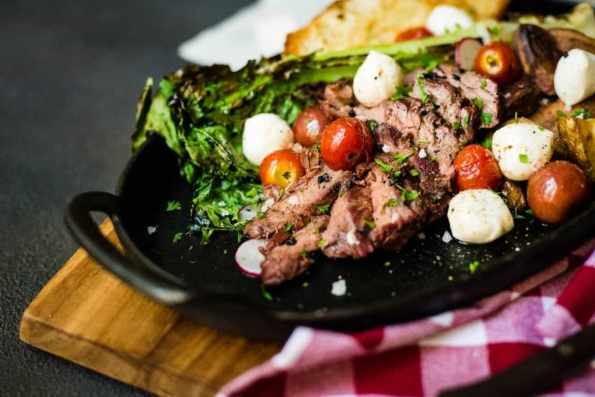 Rustic Grilled Bavette Steak Salad | Perfect for a quick night when you don't want to forfeit flavor for healthy. This Rustic Grilled Bavette Steak Salad recipe is a stunner and one for your little black book of recipes.
