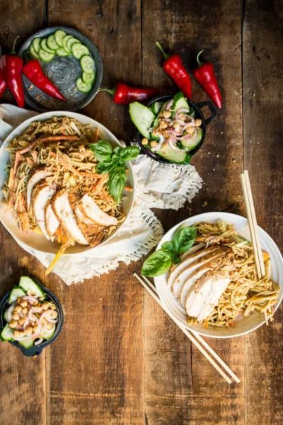 Spicy Thai Peanut Noodle Salad with Smoked Chicken