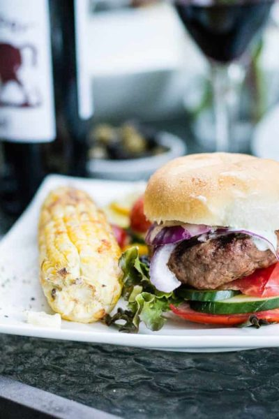 Harissa Butter Stuffed Lamb Burgers