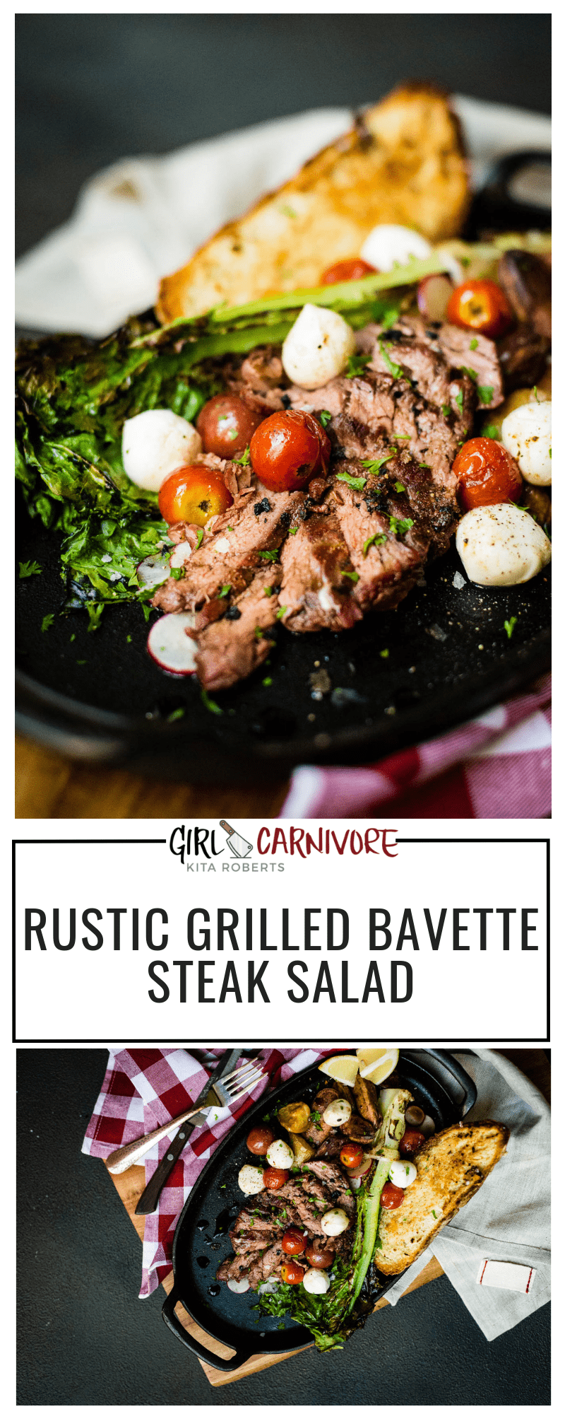 Perfect for a quick night when you don't want to forfeit flavor for healthy. This Rustic Grilled Bavette Steak Salad recipe is a stunner and one for your little black book of recipes.