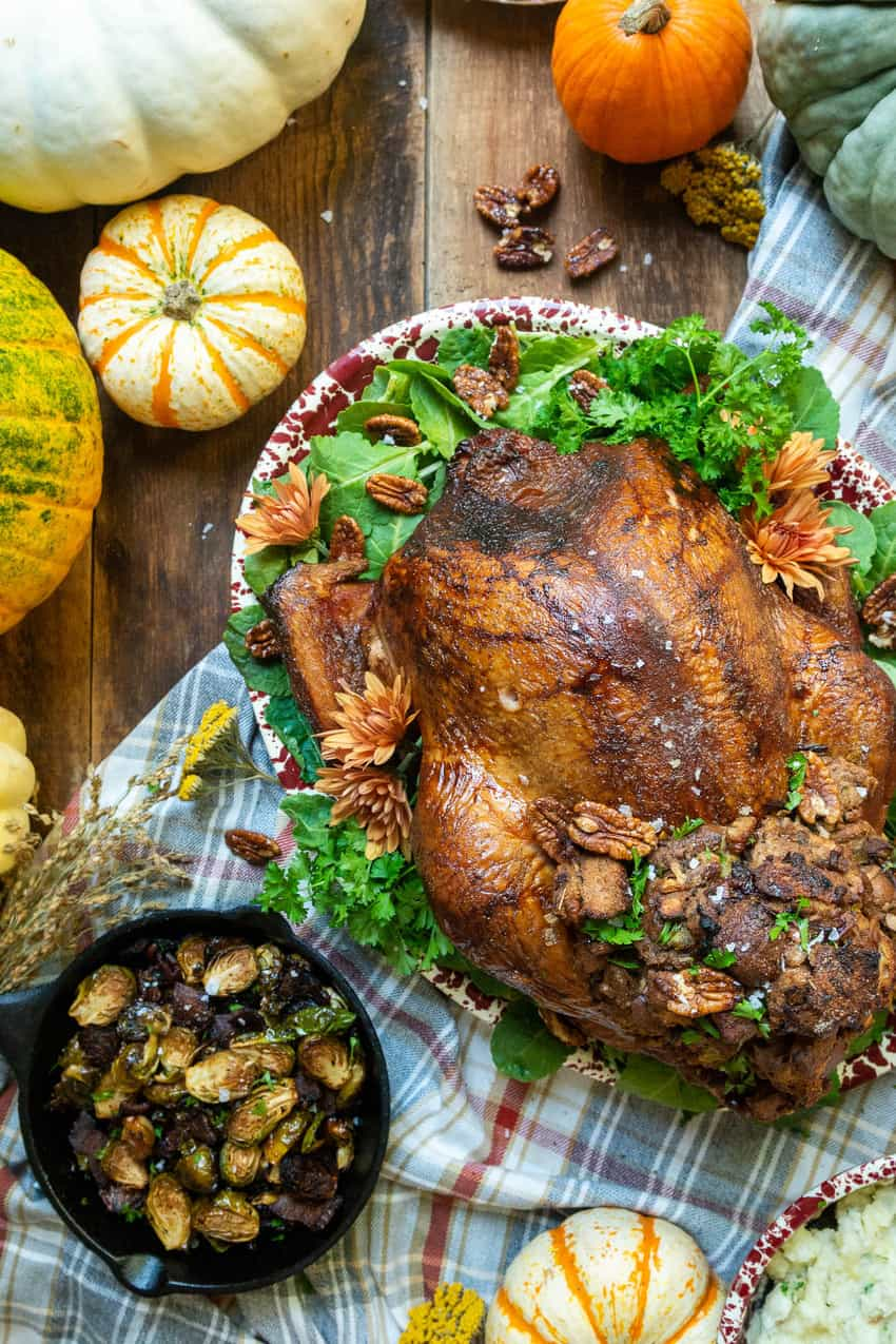 Smoked Turkey with Candied Pecan and Apple Stuffing Recipe