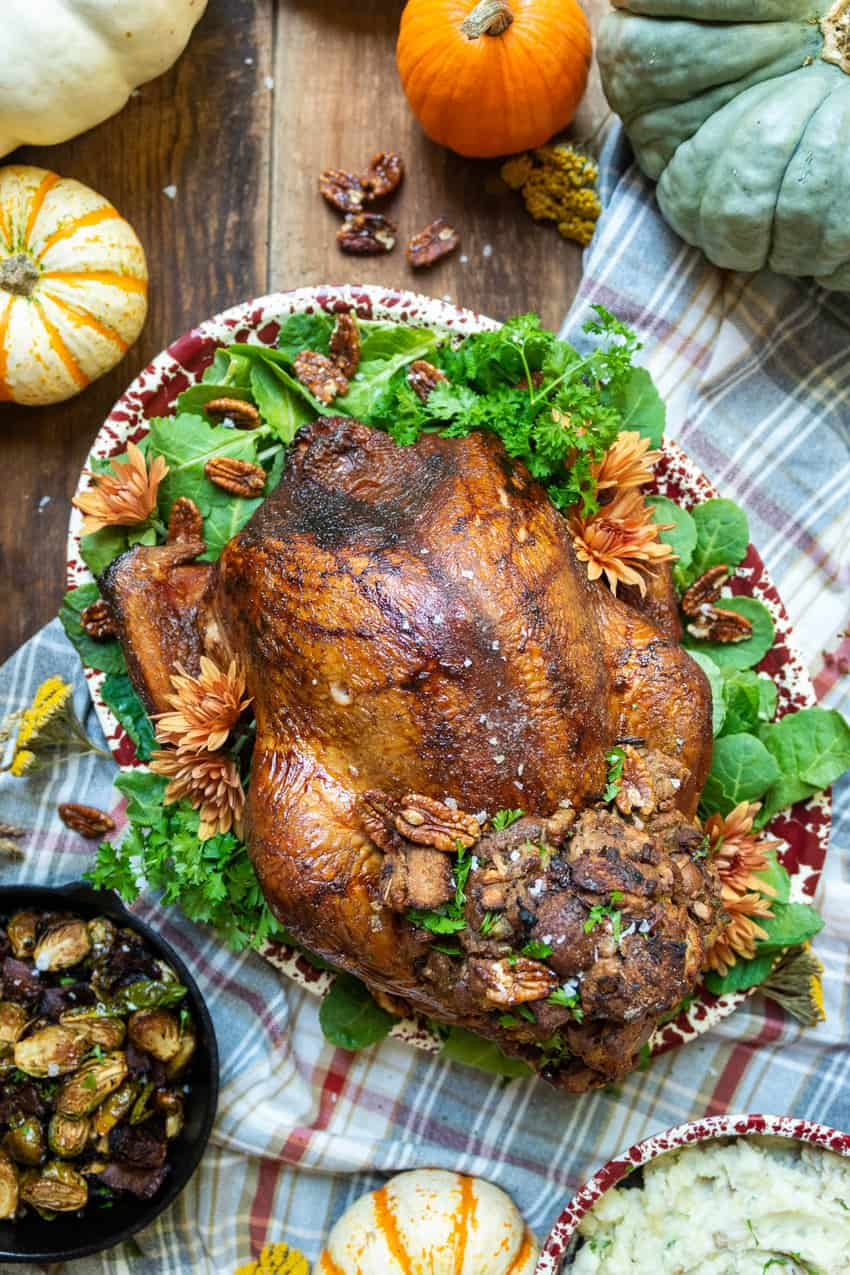 Smoked Turkey with Candied Pecan and Apple Stuffing Recipe GirlCarnivore.com