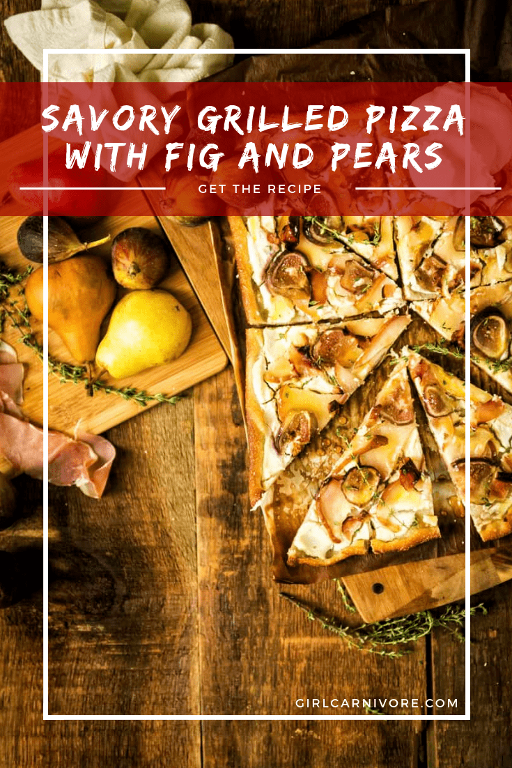 Pizza and dessert just met and it was spectacular. The flavor combo in this Savory Grilled Pizza with Fig and Pears Recipe is one you will be making over and over!