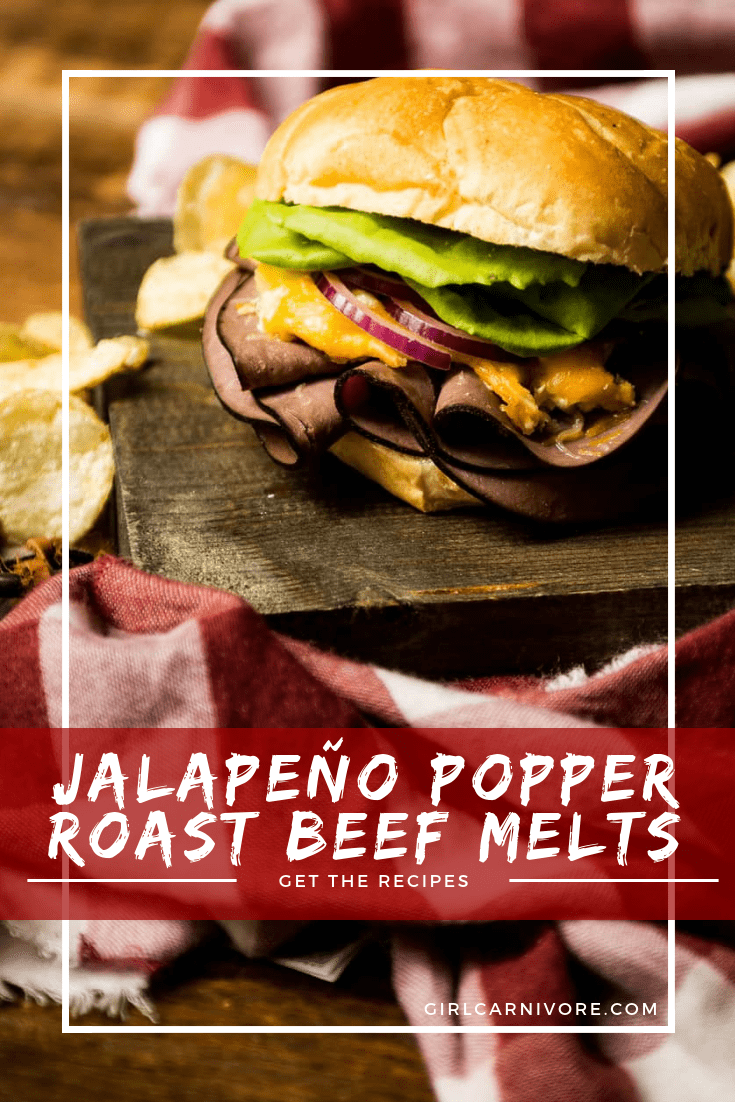 Spicy jalapeño popper dip as a topping on a hearty beef sandwich? This tailgating recipe for Jalapeño Popper Roast Beef Melts just kicked things up a notch!