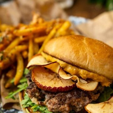 Autumn Burgers with Roasted Squash Aioli and Apple Chips Recipe By GirlCarnivore.com