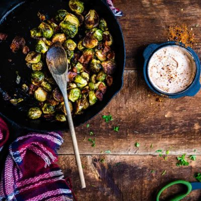 BBQ Glazed Smoked Brussels Sprouts with Bacon