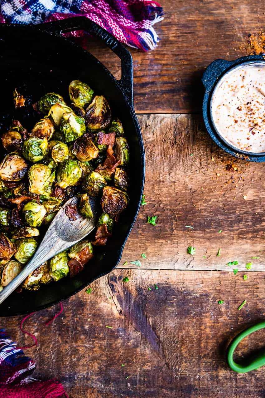 BBQ Smoked Brussels Sprouts with Bacon Recipe by Kita Roberts on GirlCarnivore.com
