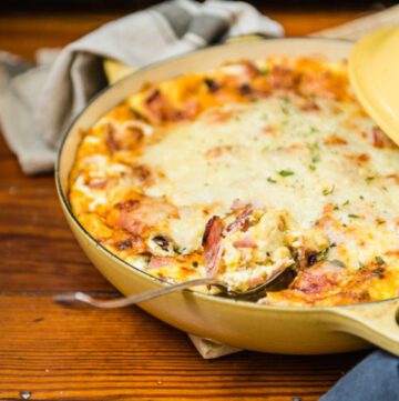 Overnight Ham Breakfast Strata Recipe - super easy and perfect for big crowds