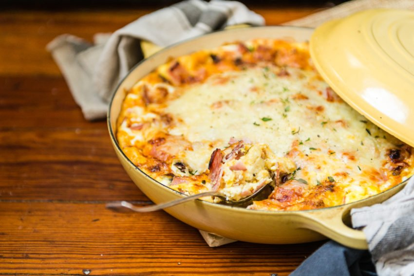 Overnight Ham Breakfast Strata Recipe - super easy and perfect for big crowds