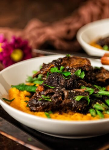 Braised Short Ribs Over Sweet Potato Puree | Kita Roberts GirlCarnivore