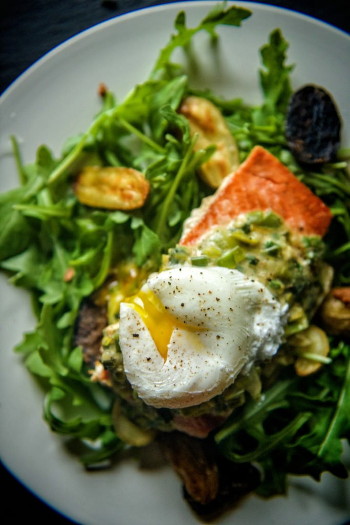 Whole 30 Approved Pan Seared Salmon with Creamy Leeks and Poached Egg | Kita Roberts GirlCarnivore.com