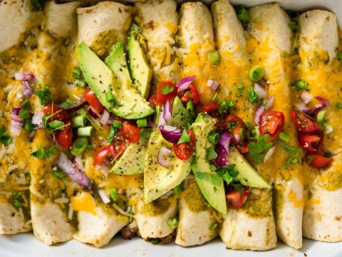 Easy salsa verde breakfast enchiladas recipe on girlcarnivore