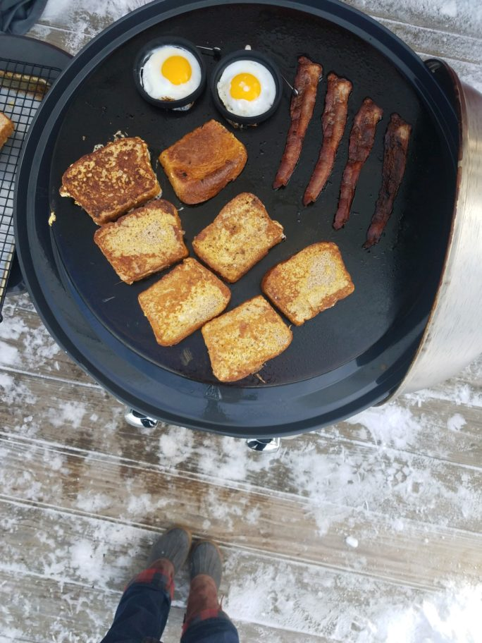 Cooking brunch on an outdoor griddle