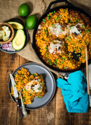 Easy weeknight arroz con pollo, chicken and rice, is always a hit in our house